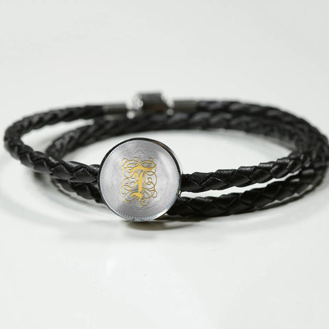 Round Charm Leather Bracelet with Gold T Initial, Personalized Monogram & Name