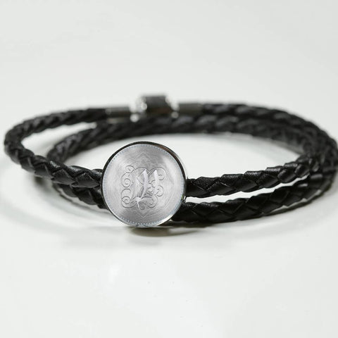 Round Charm Leather Bracelet with Silver W Initial, Personalized, Monogram & Name