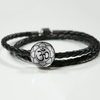 Image of Om Lotus Flower Double-Braided Leather Charm Bracelet with Engraved Personalization - Lyghtt