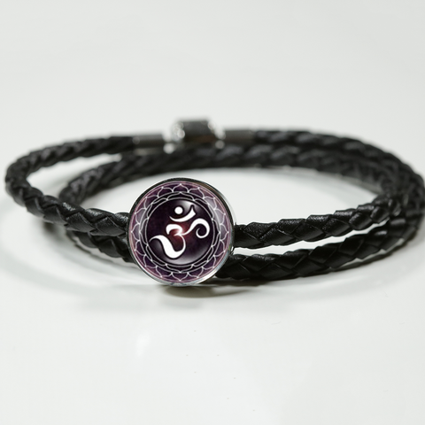 Purple Lotus Flower Om Symbol Double Braided Leather Charm Bracelet - Lyghtt