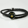 Image of Namaste with Praying Hands Circle Charm Double Leather Braided Bracelet - Lyghtt