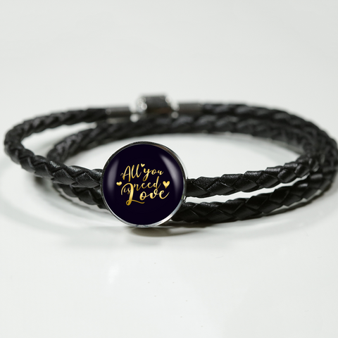 All You Need Is Love Leather Braided Bracelet with Circle Charm - Lyghtt