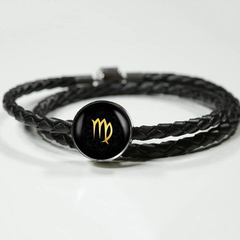 Gold on Black Virgo Zodiac Astrology Charm Leather Bracelet - Lyghtt