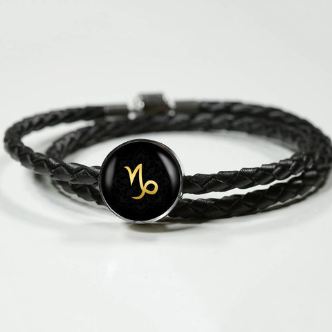 Gold on Black Capricorn Zodiac Astrology Charm Leather Bracelet - Lyghtt