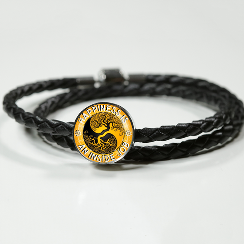 Happiness Is An Inside Job Gold Tree of Life Woven Braided Leather Charm Bracelet - Lyghtt