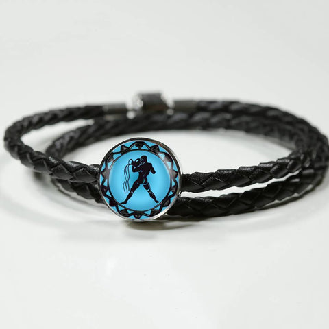 Aquarius Blue Zodiac Leather Bracelet - Lyghtt
