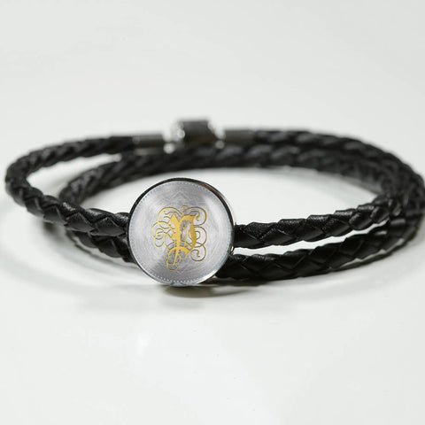 Round Charm Leather Bracelet with Gold P Initial, Personalized Monogram & Name