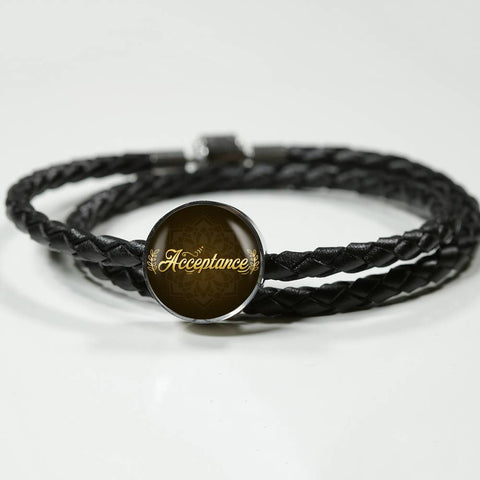 Acceptance circle style leather bracelet - Lyghtt