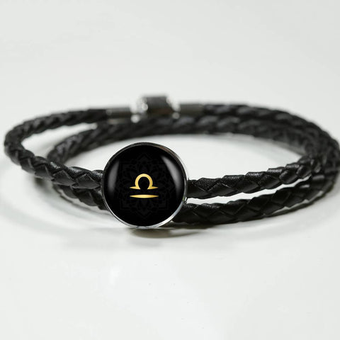 Gold on Black Libra Zodiac Astrology Charm Leather Bracelet - Lyghtt