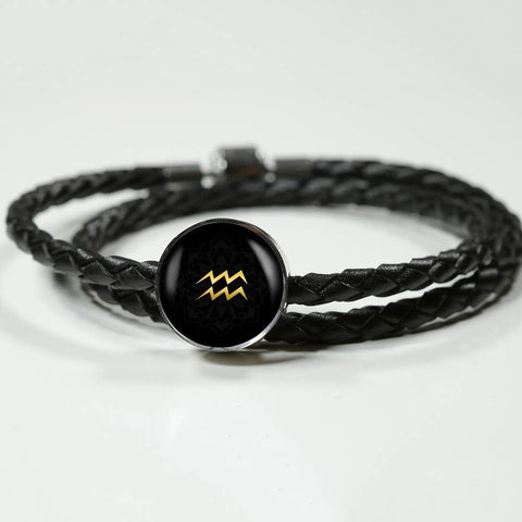 Gold on Black Aquarius Zodiac Astrology Charm Leather Bracelet - Lyghtt