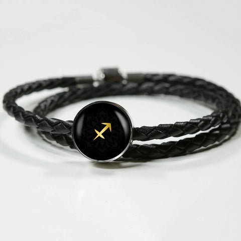 Gold on Black Sagitarius Zodiac Astrology Charm Leather Bracelet - Lyghtt