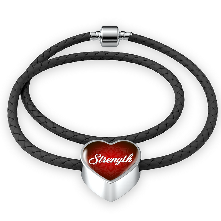 strength heart style leather bracelet - omfinite