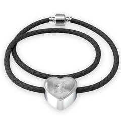 Heart Charm Leather Bracelet with Silver R Initial, Personalized, Monogram & Name