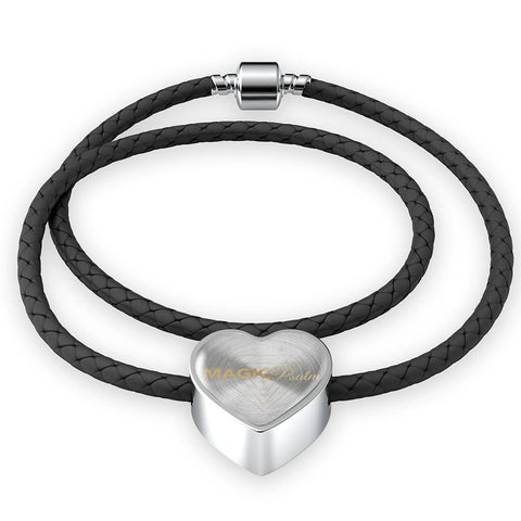 Magic of Psalm Logo Heart Leather Bracelet