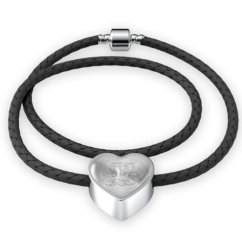 Heart Charm Leather Bracelet with Silver N Initial, Personalized, Monogram & Name