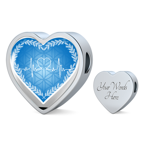 Blue Love Heart Beat Heart Shape Charm Bracelet - Lyghtt