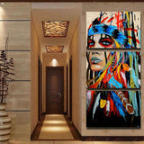 3 Pieces Native American Girl Feathered Women Modern Home Wall Decor Canvas