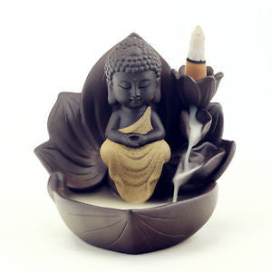 Adorable Monk Statue Ceramic Backflow Incense Burner. Great Gift Idea for Meditation & Yoga Lovers. - Lyghtt