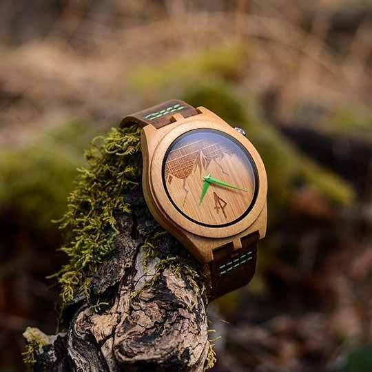 The ridge mountain themed bamboo wooden watch madera outdoor for Mountain watches