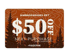 Madera Outdoor  Funnel Builder Products Ambassador Only Offer: Waterproof Pocket Backpack + Pillow + $50 Gift Card