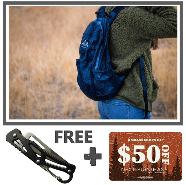 Madera Outdoor  Funnel Builder Products Ambassador Only Offer: Waterproof Pocket Backpack + Pillow + $50 Gift Card madera outdoor hammock companies that plant trees best camping hammocks cheap camping hammocks cheap hammocks cheap backpacking hammocks