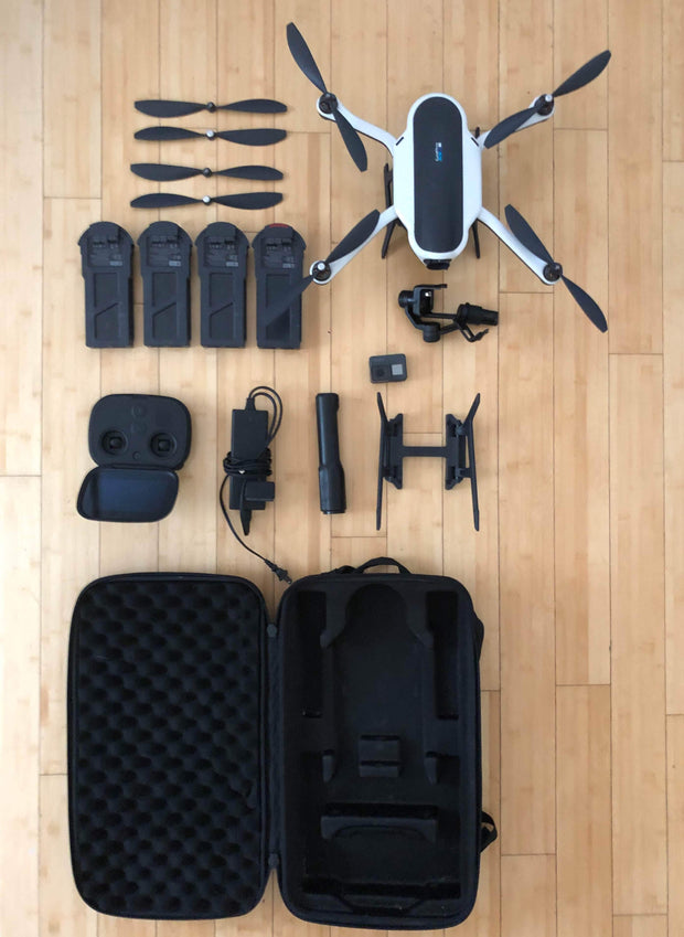 USED - Excellent condition | GoPro Drone | Hero 6 | Grip | stabilizer | gopro battery | 4 drone batteries | controller | case
