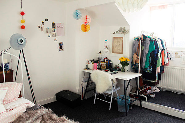 "Annie's First ""Studio Space"" - a cluttered desk in the corner of my uni bedroom"
