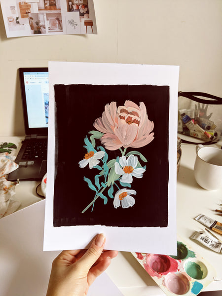 working on a painting for the botanical blooms collection