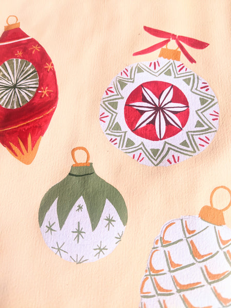 paintings of baubles for christmas cards