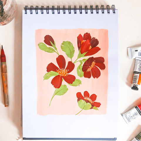 painting flowers on a pink background