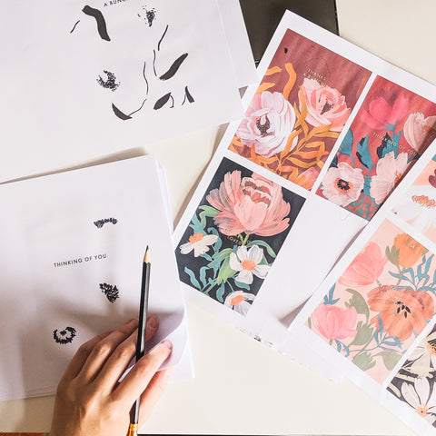 checking over final designs for the Botanical Blooms collection