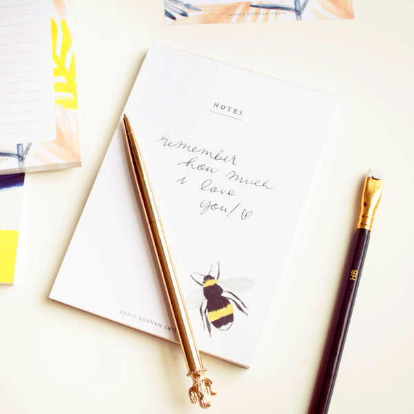 taking notes on the british bee jot pad