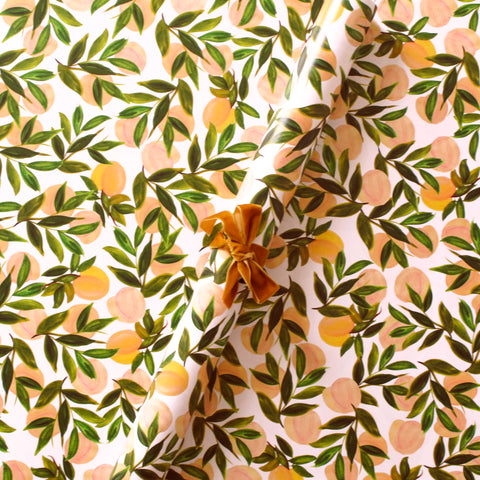Peach patterned wrapping paper sheets