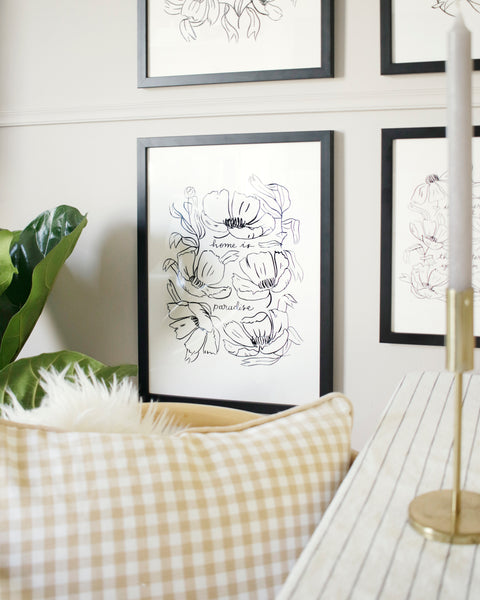 """an illustrated floral print hangs in a black frame against a pale grey wall - it reads """"home is paradise"""" surrounded by black line art flowers"""