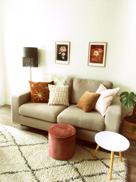 narrow living room - Greige wool look sofa with velvet and fur elements