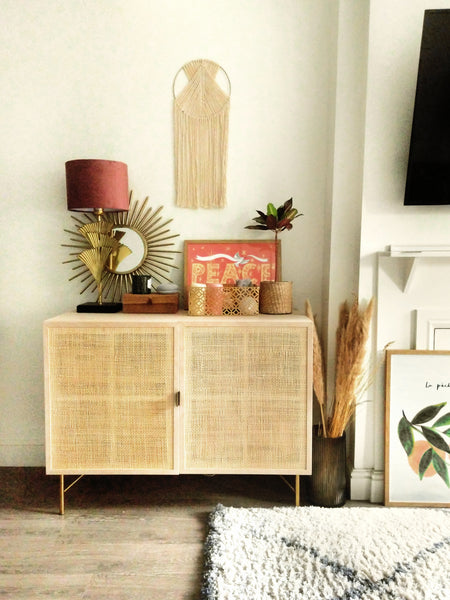 rattan living room cabinet - stying a narrow living room