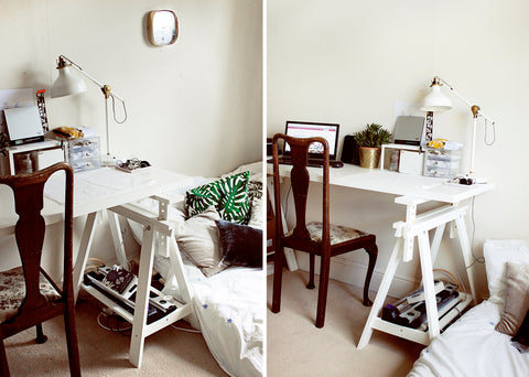 "Annie's bedroom studio space ""back home"" - white desk with trestle legs and a vintage chair"