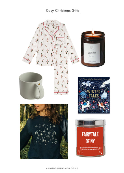 a selection of UK based christmas gift ideas from indie brands for a cosy evening