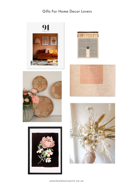 A selection of indie gifts for interior lovers with a muted, natural taste for decor