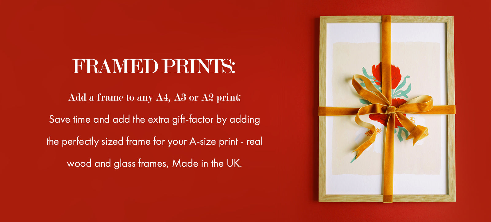 Add a frame to any A4, A3 or A2 print: Save time and add the extra gift-factor by adding the perfectly sized frame for your A-size print - real wood and glass frames, Made in the UK. (image: a framed print, wrapped in a velvet ribbon, on a red background)