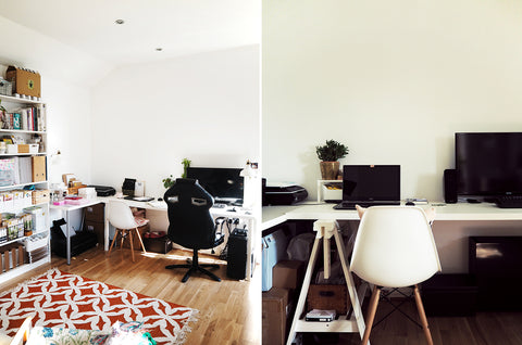 Shots of Annie's 1 bedroom london flat - with a huge desk and 2 chairs fit into the living room!