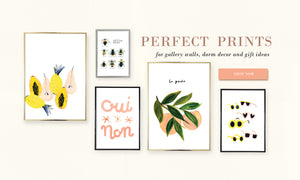 "An image 5 different prints in different sizes laid out like a gallery wall. Overlaid text reads: ""Perfect prints for gallery walls, dorm decor and gift ideas"""