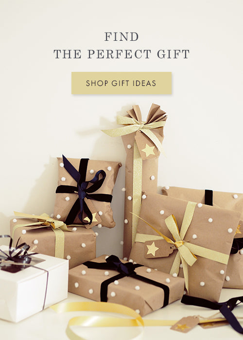 A collection of prettu wrapped gifts. Lettering reads