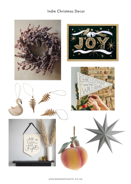 A selection of christmas decorations from indie businesses