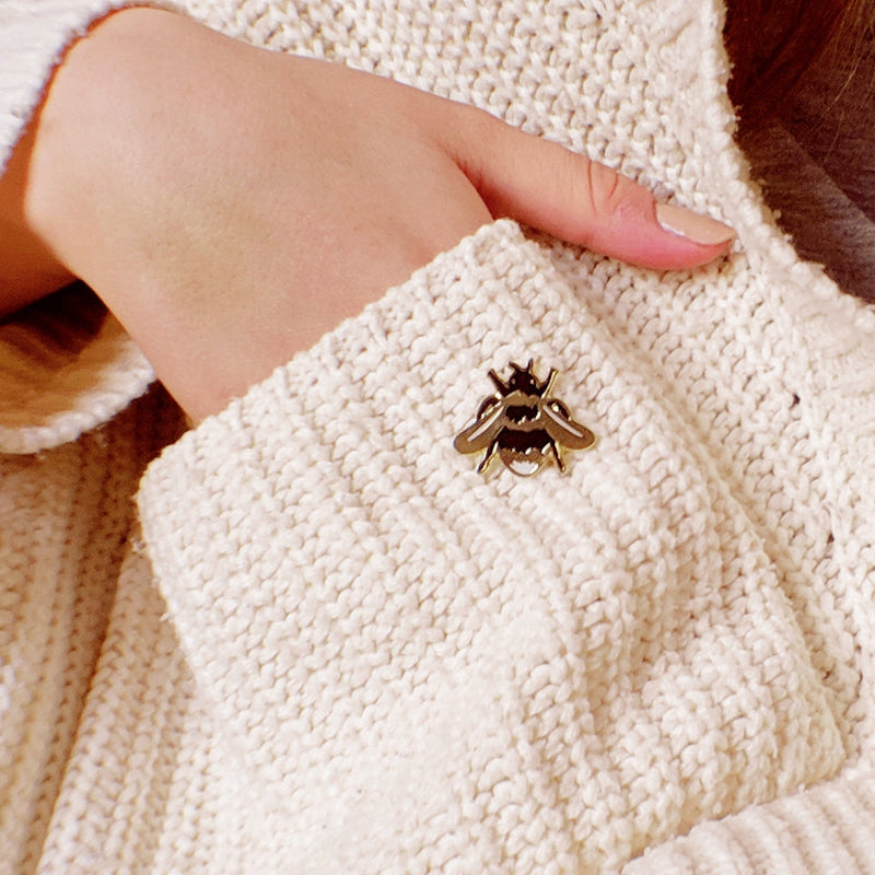 gold bee enamel pin