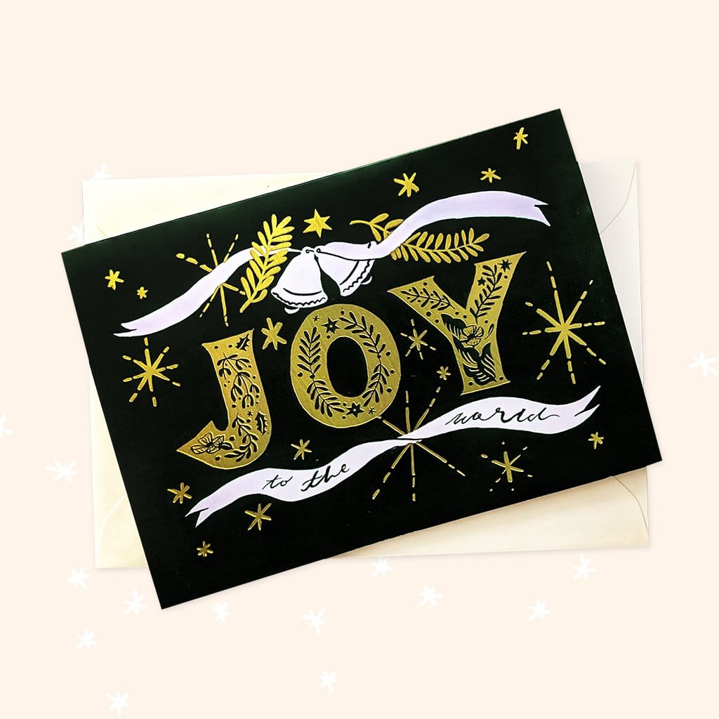 JOY illustrated indie christmas card