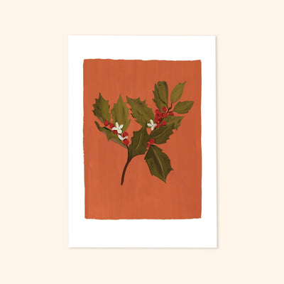 a orange and red print of painted Holly with berries and little white flowers