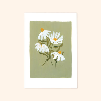 4 white painted coneflowers on a pale green painted background with  a white frame