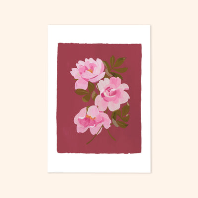 a print of 3 painted pink roses on a warm, deep pink background