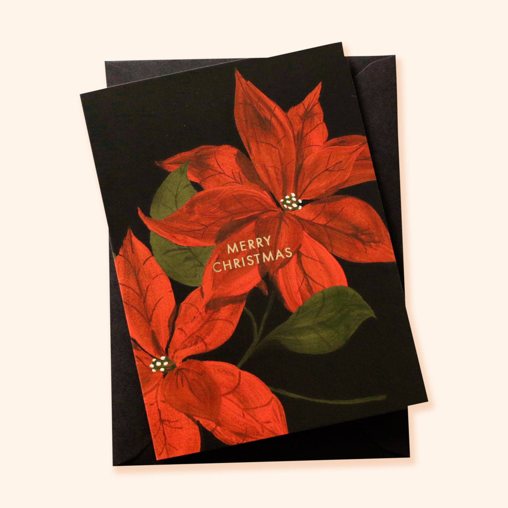 Poinsettia Illustrated Christmas Card
